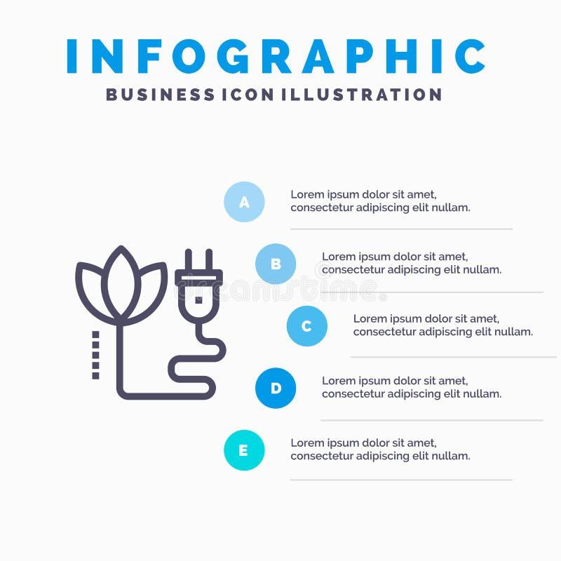 Biomass, energia, kabel, prymki Kreskowa ikona z 5 kroków prezentacji infographics tłem ilustracja wektor