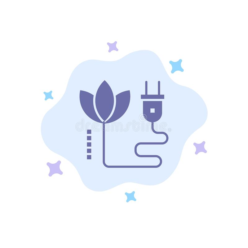 Biomass, energia, kabel, Wtyczkowa Błękitna ikona na abstrakt chmury tle ilustracja wektor