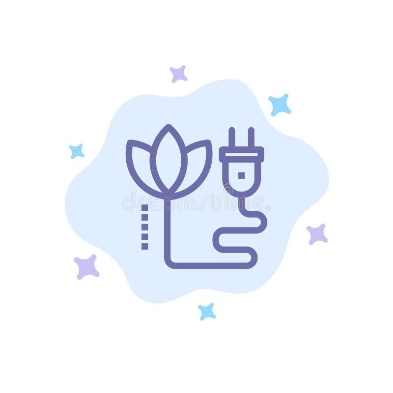 Biomass, energia, kabel, Wtyczkowa Błękitna ikona na abstrakt chmury tle ilustracji