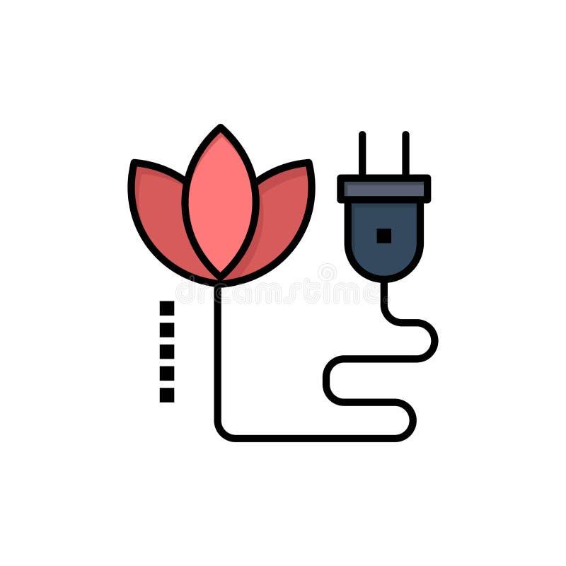 Biomass, energia, kabel, Wtyczkowa Płaska kolor ikona Wektorowy ikona sztandaru szablon ilustracji