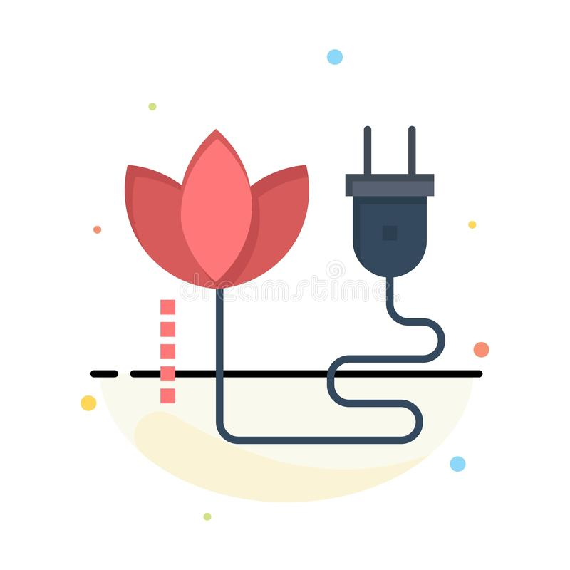 Biomass, energia, kabel, Wtyczkowy Abstrakcjonistyczny Płaski kolor ikony szablon ilustracja wektor
