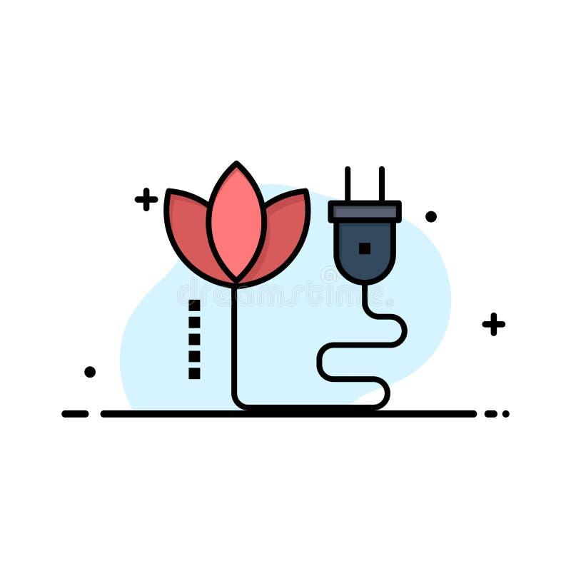 Biomass, energia, kabel, Wtyczkowy Biznesowy logo szablon p?aski kolor ilustracja wektor