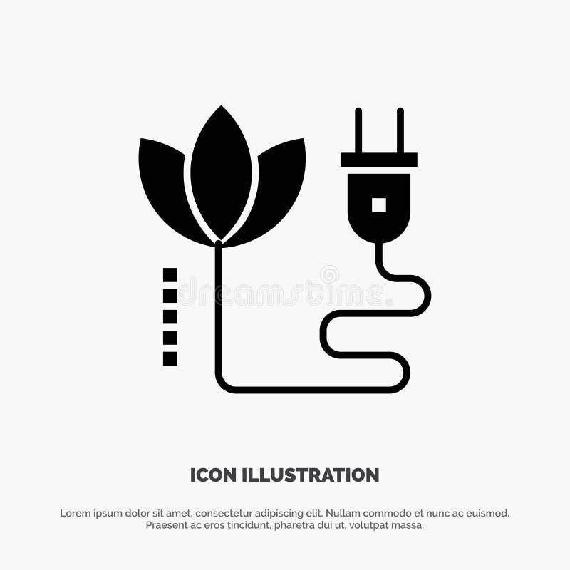 Biomass, energia, kabel, Wtyczkowy stały glif ikony wektor royalty ilustracja
