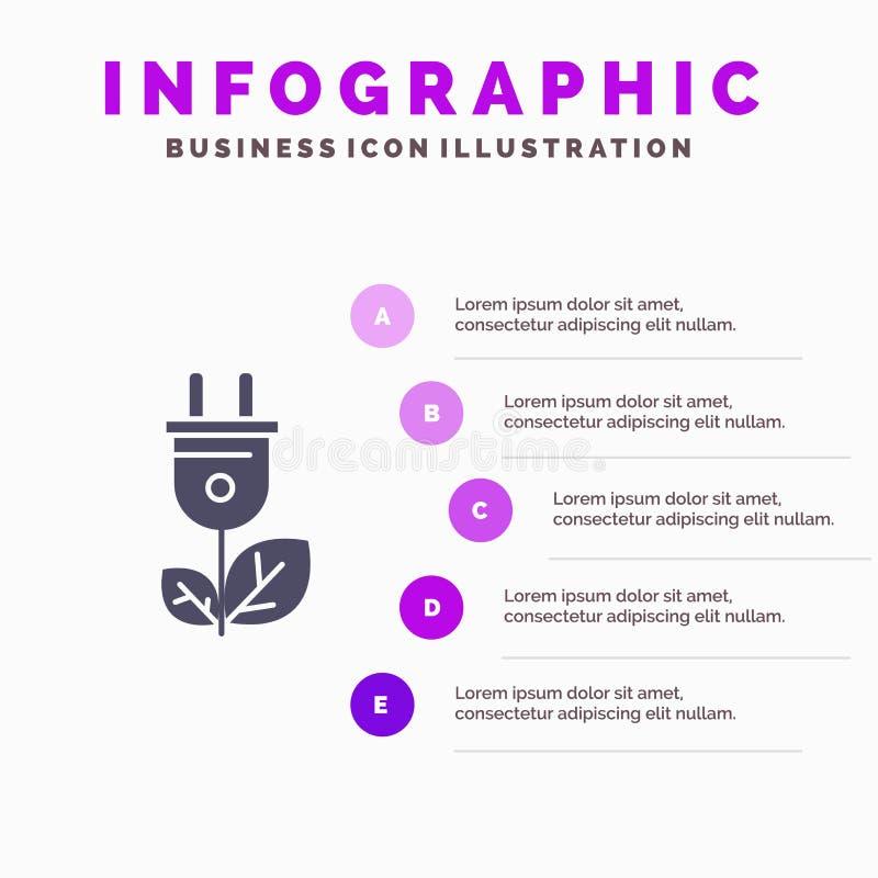 Biomass, energia, prymka, władzy ikony Infographics 5 kroków prezentacji Stały tło ilustracja wektor
