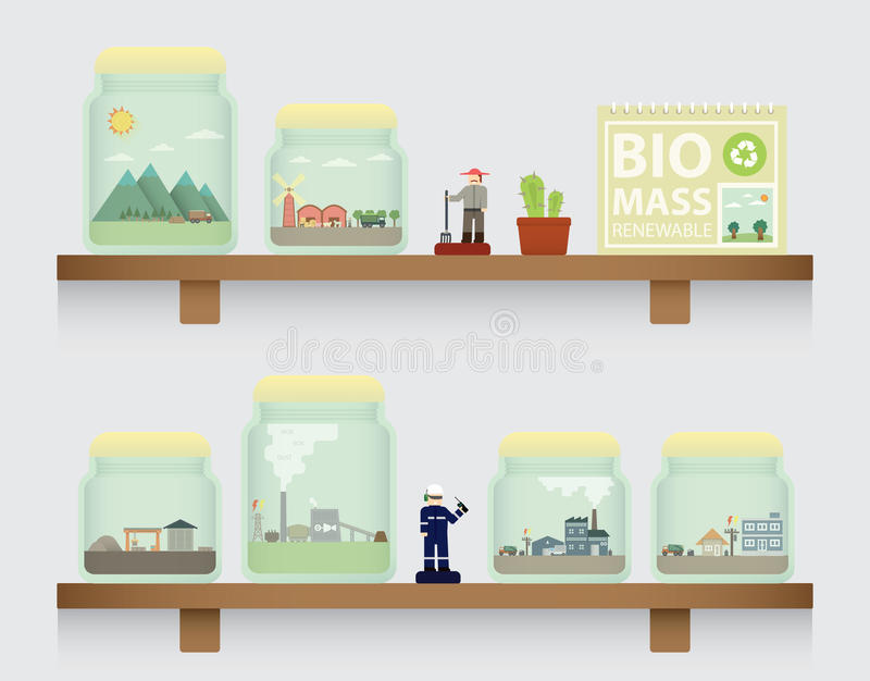 Biomassa no frasco ilustração royalty free
