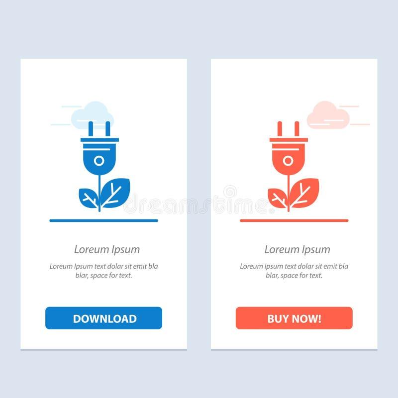 Biomasse, énergie, prise, bleu de puissance et téléchargement rouge et acheter maintenant le calibre de carte de gadget de Web illustration de vecteur