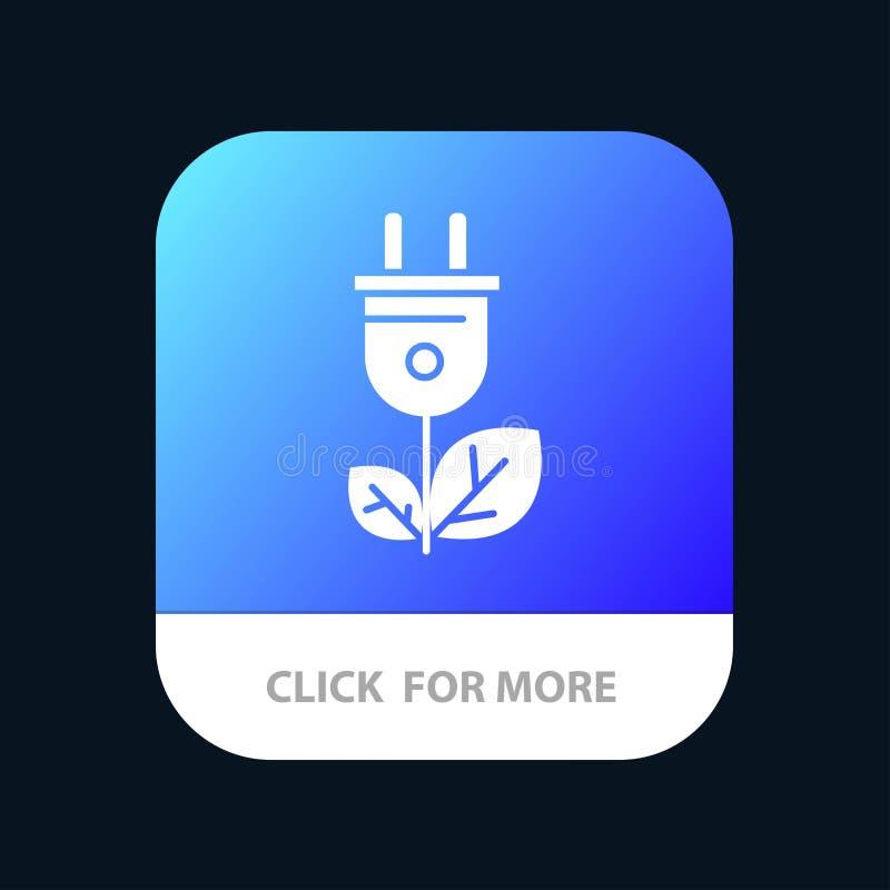 Biomasse, énergie, prise, bouton mobile d'appli de puissance Android et version de Glyph d'IOS illustration libre de droits