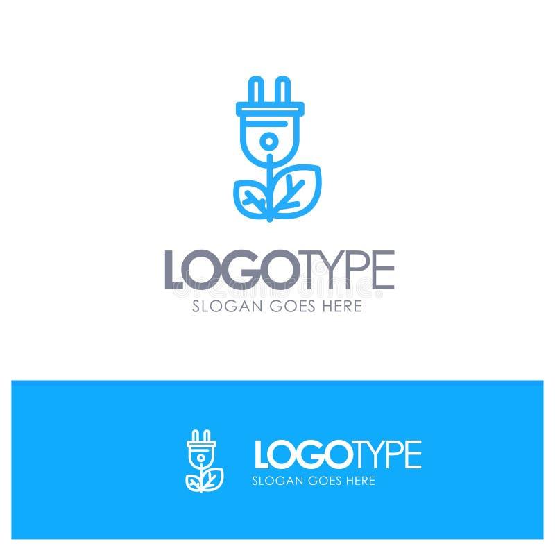 Biomasse, énergie, prise, contour bleu Logo Place de puissance pour le Tagline illustration libre de droits