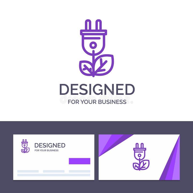 Biomasse de visite de calibre créatif de carte de visite professionnelle et de logo, énergie, prise, illustration de vecteur de p illustration stock