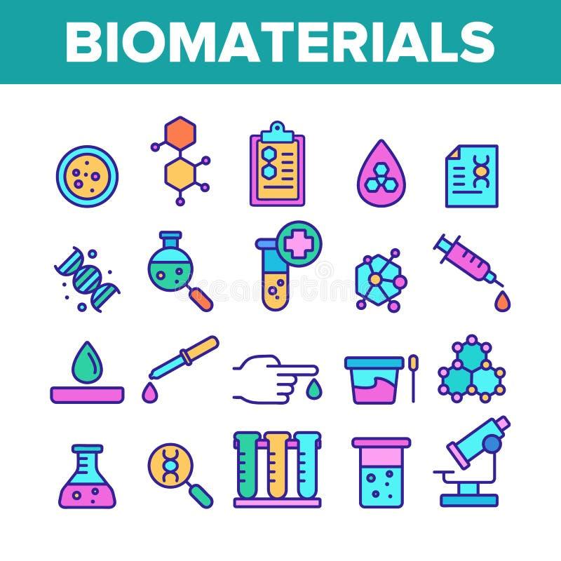 Biomateriali di colore, insieme lineare delle icone di vettore medico di analisi illustrazione di stock