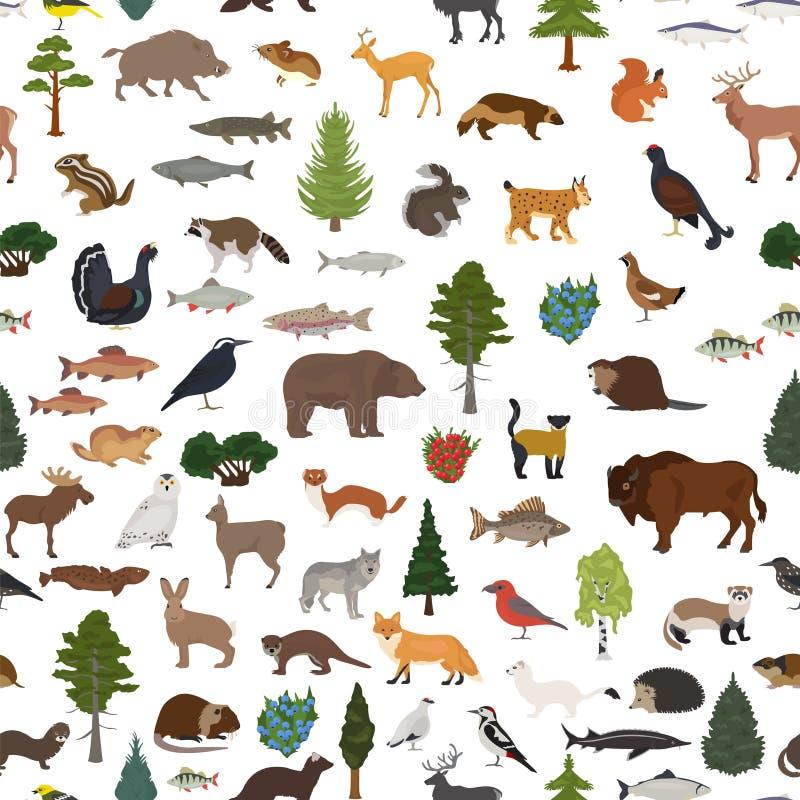 Biome Taiga, βόρειο δασικό άνευ ραφής σχέδιο χιονιού Επίγειος παγκόσμιος χάρτης οικοσυστήματος Ζώα, πουλιά, σχέδιο ψαριών και εγκ απεικόνιση αποθεμάτων