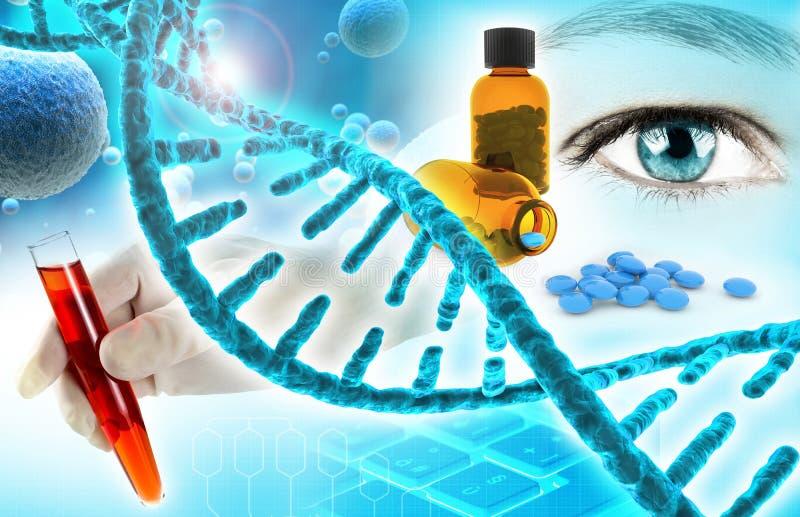 Biomedicalforskningbakgrund royaltyfri illustrationer