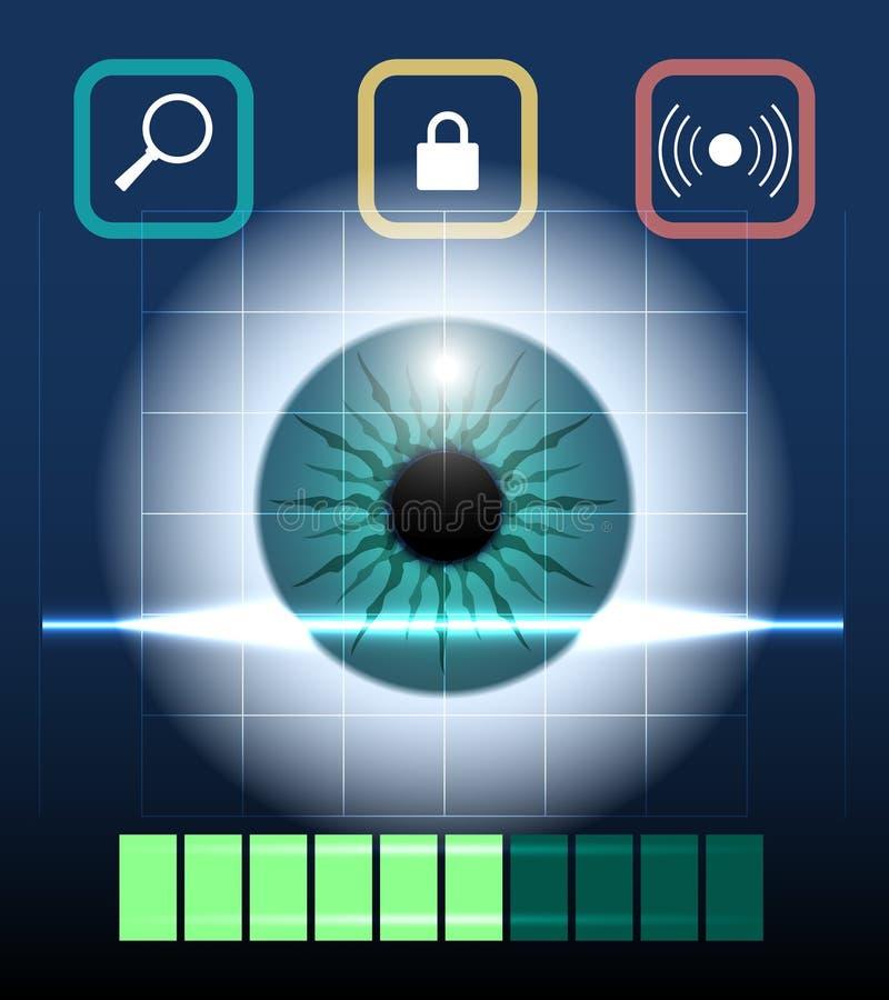 Biometria dell'occhio illustrazione di stock