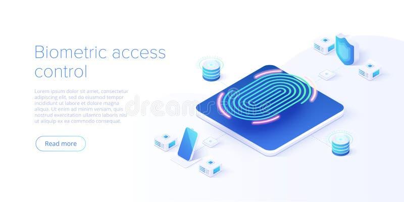 Biometric åtkomstskydd i isometrisk vektorillustration Fingeravtryck som avskärmar säkerhetssystembegrepp Digital handlagbildläsn stock illustrationer