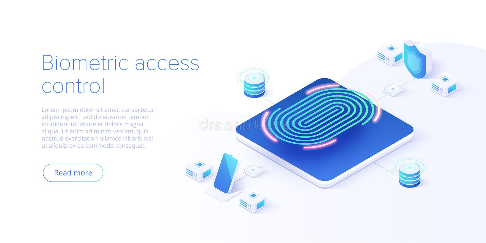 Biometric access control in isometric vector illustration. Fingerprint screening security system concept. Digital touch scan. Identification or electronic stock illustration