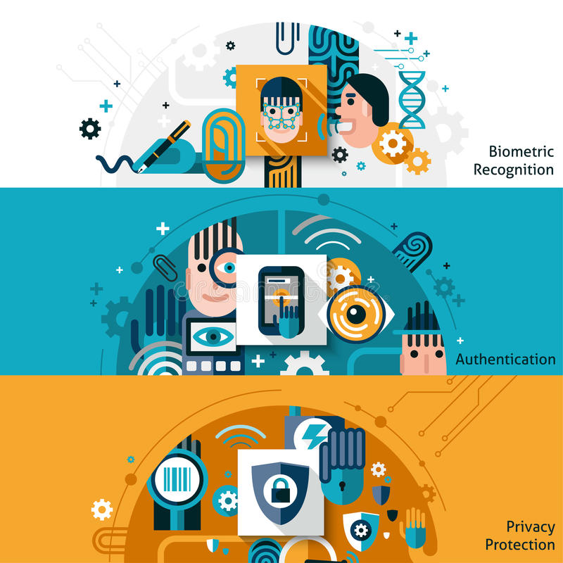 Biometric Authentication Banners. Biometric authentication horizontal banner set with privacy protection and recognition elements vector illustration vector illustration