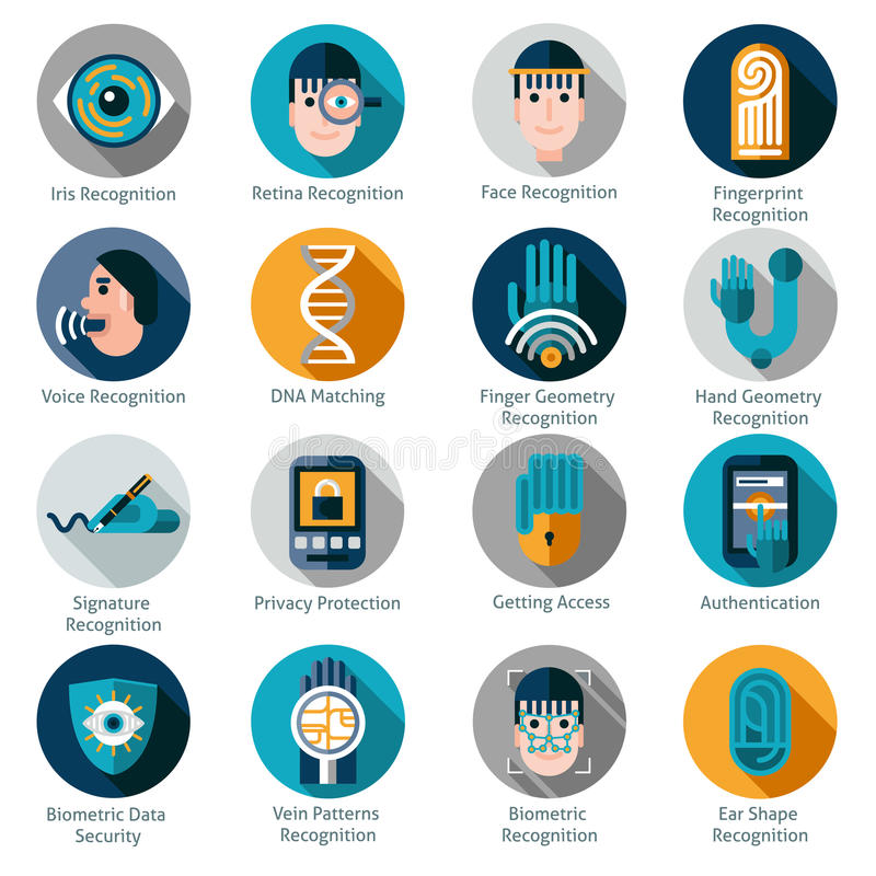 Biometric Authentication Icons. Set with iris retina face and fingerprint recognition symbols isolated vector illustration royalty free illustration