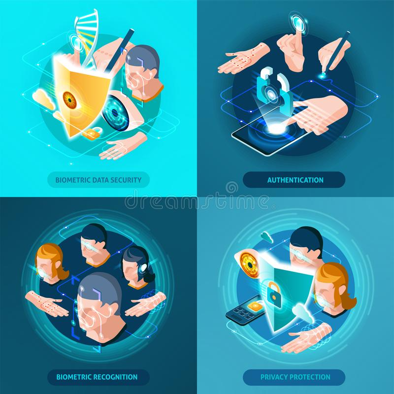 Biometric Authentication Isometric Icons Square stock illustration