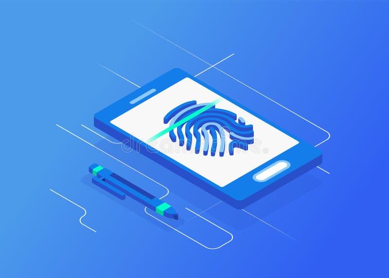 Biometric authentication methods isometric vector illustration