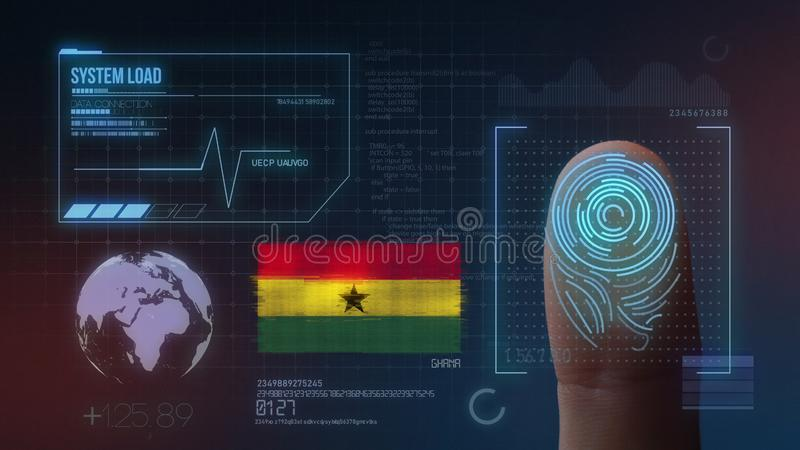 Biometric avläsande IDsystem för fingeravtryck Ghana nationalitet royaltyfri illustrationer