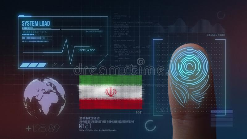 Biometric avläsande IDsystem för fingeravtryck Iran nationalitet stock illustrationer