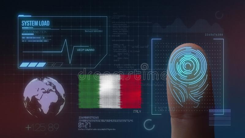 Biometric avläsande IDsystem för fingeravtryck Italien nationalitet vektor illustrationer