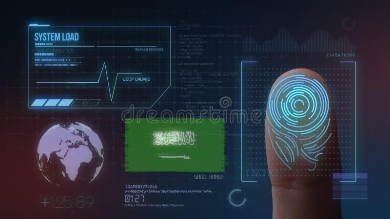 Biometric avläsande IDsystem för fingeravtryck Saudiarabien nationalitet royaltyfri fotografi