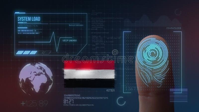 Biometric avläsande IDsystem för fingeravtryck Yemen nationalitet fotografering för bildbyråer
