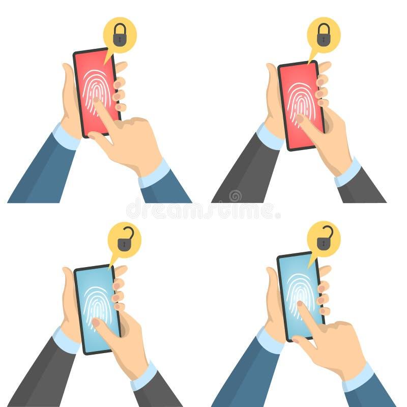 Biometric bildläsaruppsättning stock illustrationer