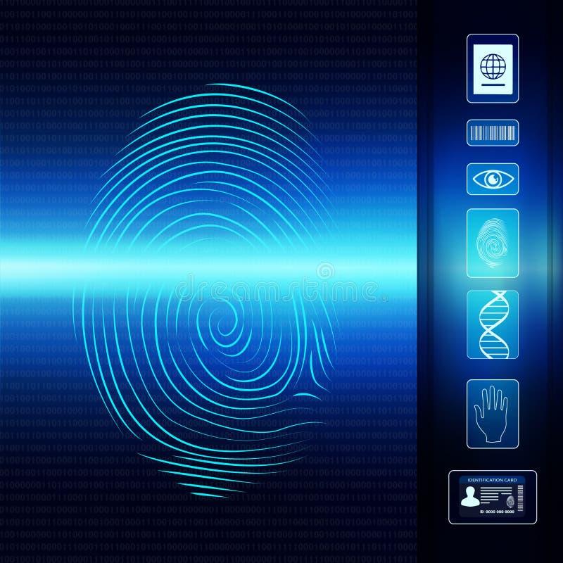 Biometric elektroniskt system för ID av den individuella identiteten Fingeravtryckbildläsning SymbolsLegitimation-öga-barcode-DNA royaltyfri illustrationer