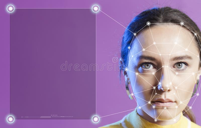 Biometric face detection royalty free stock photography