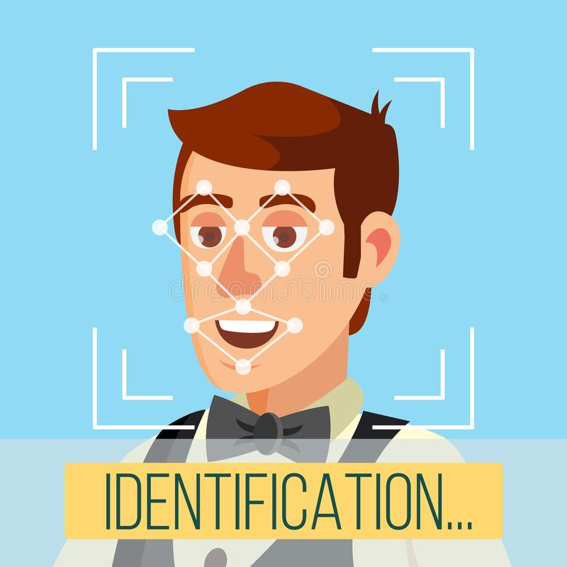 Biometric Face Identification Vector. Human Face With Polygons And Points. Safety Scan Illustration. Face Recognition, Mobile Identification Vector. Electronic stock illustration