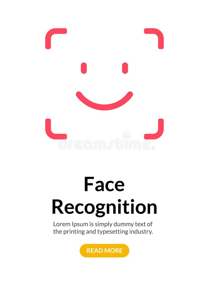 Biometric face recognition on smartphone. Facial scan security system technology. Face authentication identification royalty free illustration