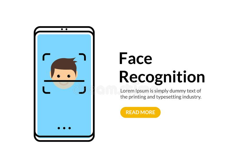 Biometric face recognition on smartphone. Facial scan security system technology. Face authentication identification vector illustration