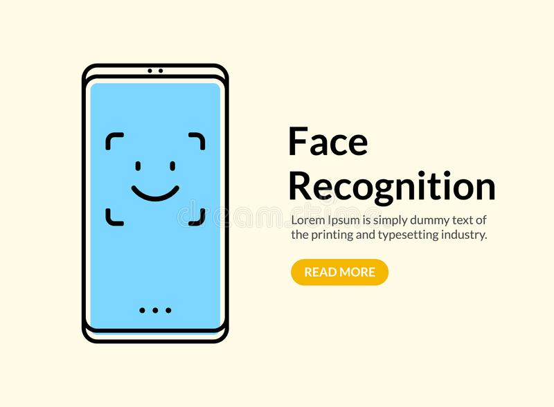 Biometric face recognition on smartphone. Facial scan security system technology. Face authentication identification stock illustration
