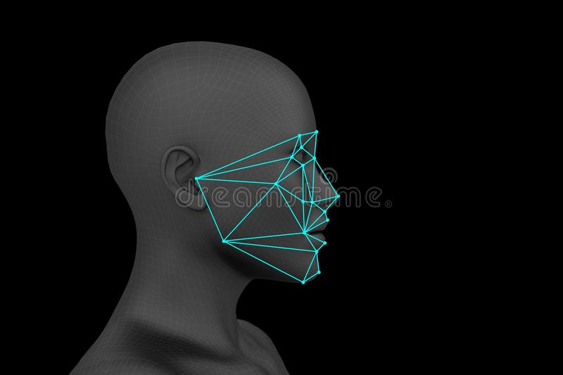 Biometric facial recognition without hair. Biometric profile face recognition without hair. 3d rendering stock illustration