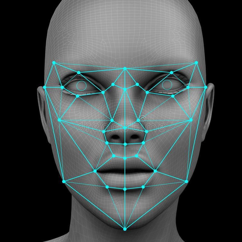 Biometric facial recognition without hair. 3d rendering royalty free illustration