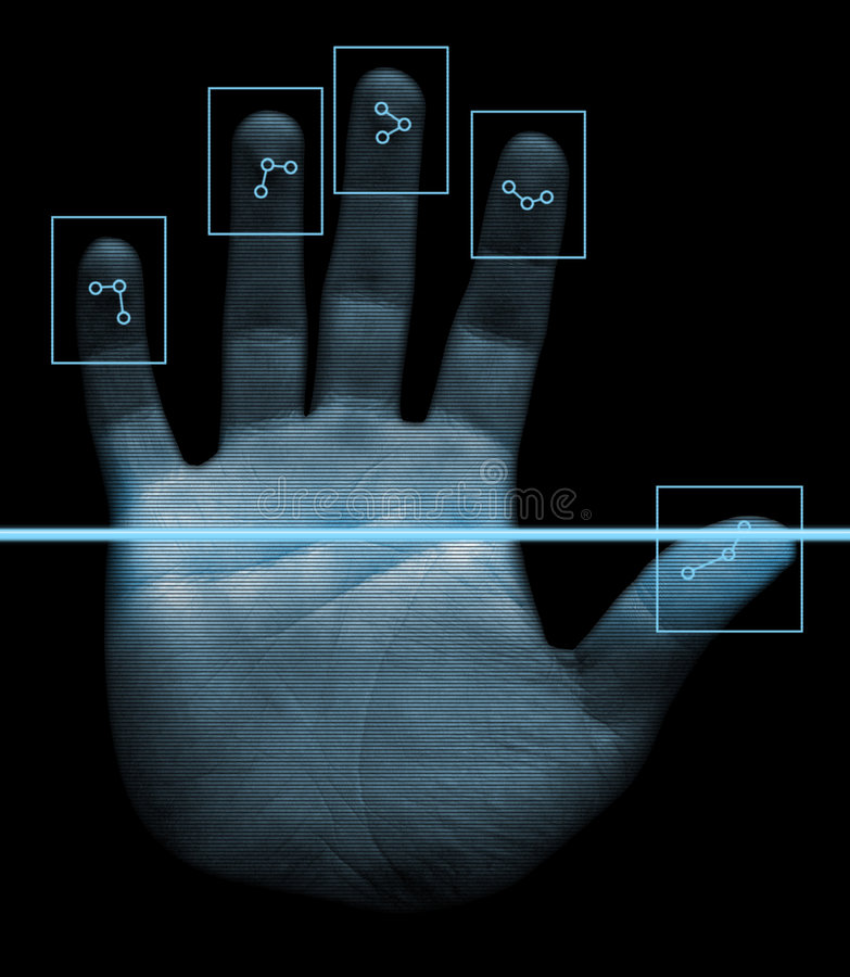 biometric handbildläsare stock illustrationer