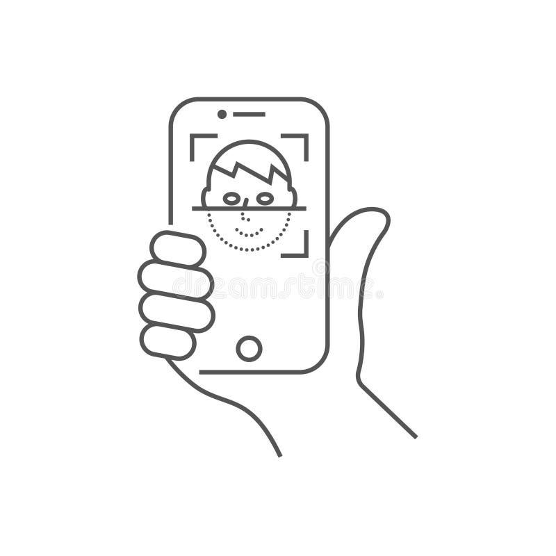 Biometric ID, begrepp f?r system f?r framsidaerk?nnande Smartphone i hand avläser en personframsida Mobil app för framsida royaltyfri illustrationer