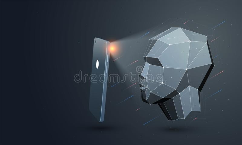 Biometric ID eller ansikts- erkännande stock illustrationer