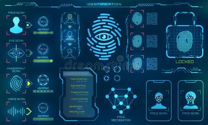Biometric ID- eller erkännandesystem av personen, linje symboler av identitetsverifikationstecknet stock illustrationer