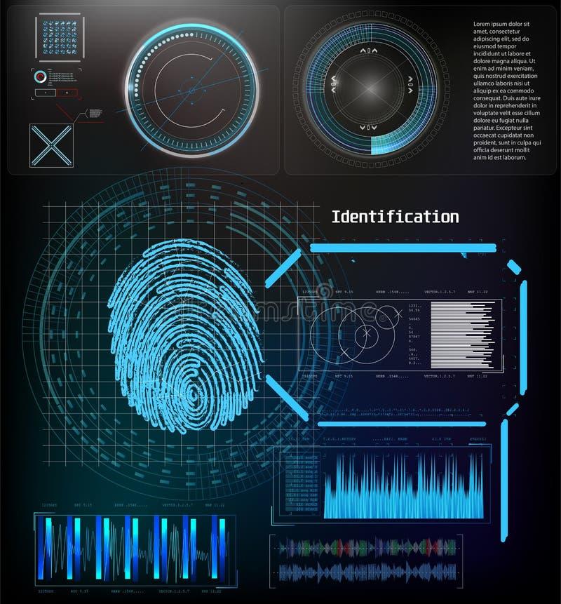 Biometric ID- eller erk?nnandesystem av personen Det ansikts- erkännandeteknologifingeravtrycket, stock illustrationer