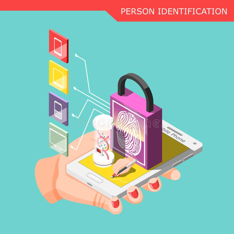 Biometric ID Isometric Composition. With human hand holding smartphone protected by password with personal identification vector illustration vector illustration