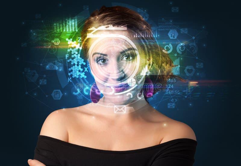 Biometric ID och ansiktsbehandlingerkännande arkivbild