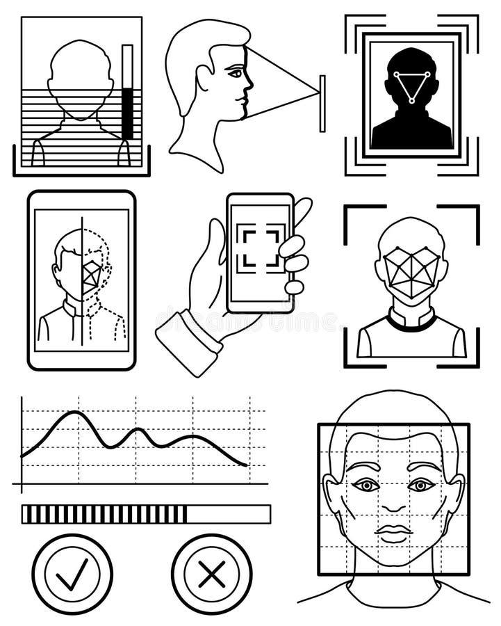 Biometric ID, systembegrepp för ansikts- erkännande, skissar royaltyfri illustrationer