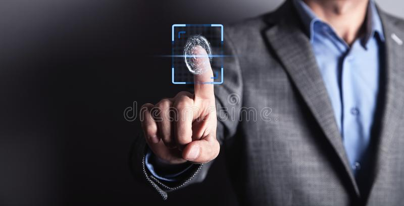 Biometric identification concept with fingerprints royalty free stock images