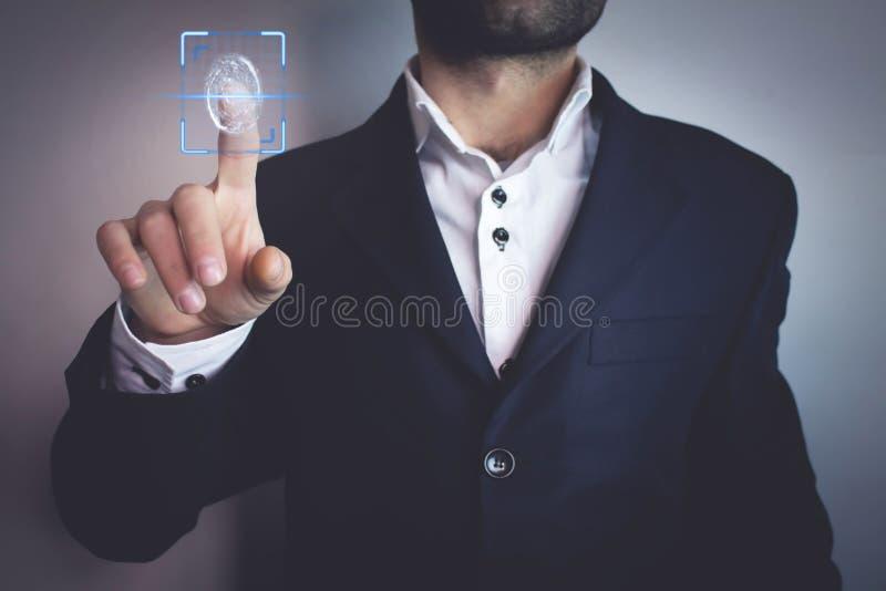 Biometric identification concept with fingerprints. stock photo