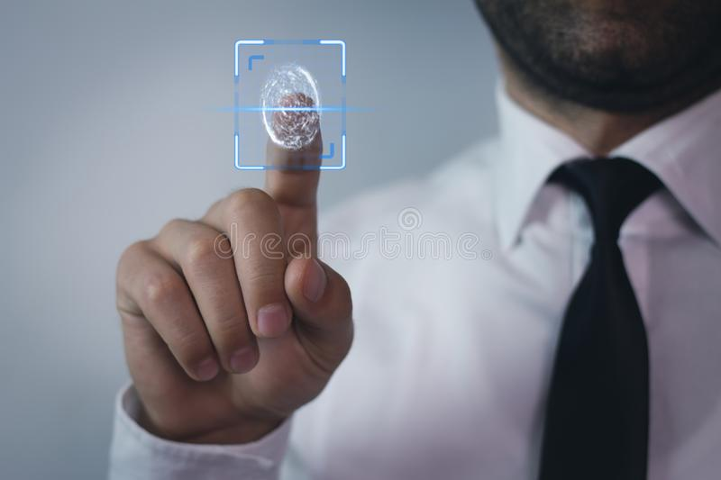 Biometric identification concept with fingerprints. stock photography