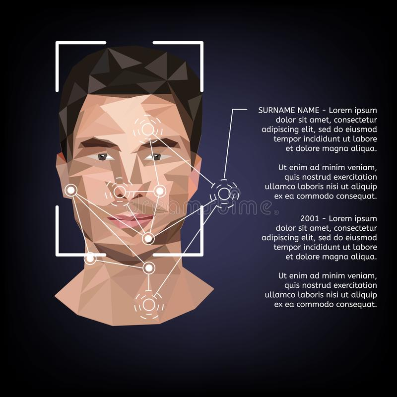Biometric identification on face, in the style of low poly. Vector illustration stock illustration
