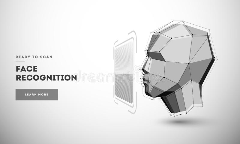 Biometric identification or Facial recognition system. Biometric identification or Facial recognition system concept royalty free illustration